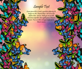 Beautiful butterflies with halation spring background vector 05