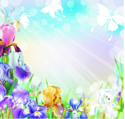 Beautiful flower with brilliant background vectors 01