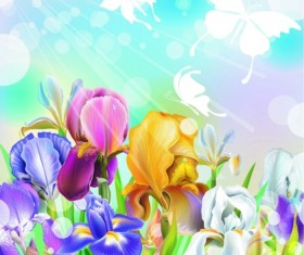 Beautiful flower with brilliant background vectors 02