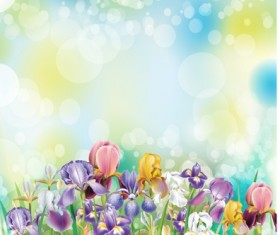 Beautiful flower with brilliant background vectors 04