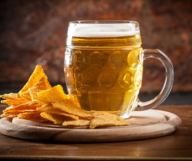 Beer and potato chips Stock Photo 01