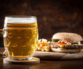 Beer with fast food Stock Photo 01