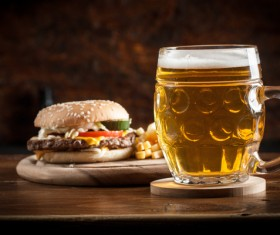 Beer with fast food Stock Photo 02