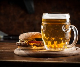Beer with fast food Stock Photo 03