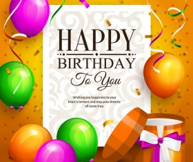 Birthday card with giftbox and colorful balloon vector