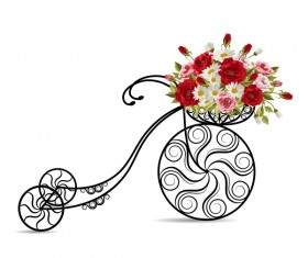 Black bicycle with flower basket vector 01