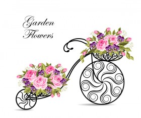 Black bicycle with flower basket vector 02
