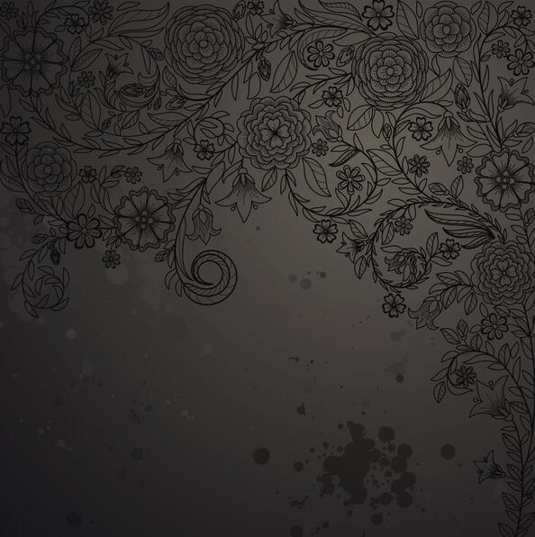 Black Flower With Dark Grunge Background Vector