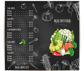 Black restaurant menu with vegetables vector