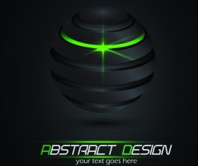 Black sphere and green lights with dark background vector