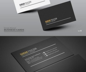 Black with White Clean Business Card PSD Template