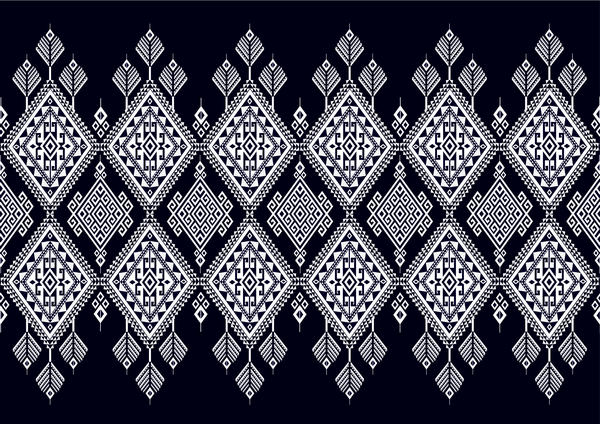 Black with white ethnic pattern background vector