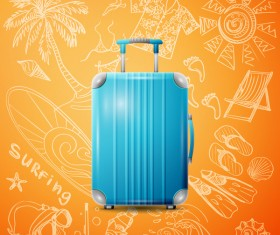 Blue Trolley case with travel background vector