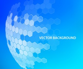 Blue background with hexagonal spherical vector