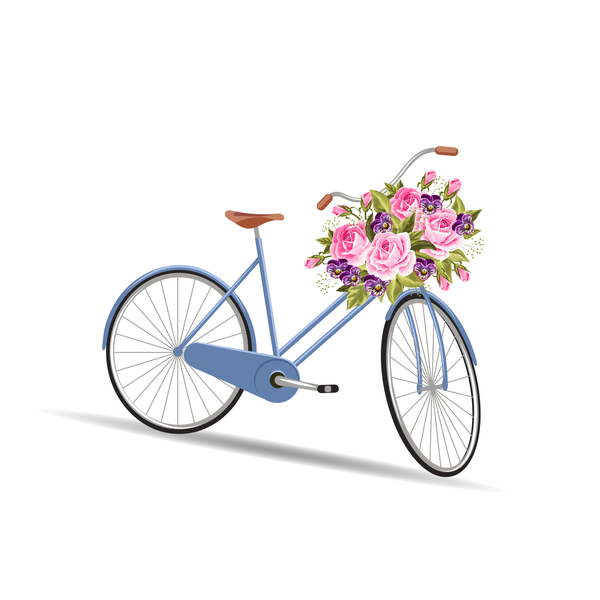 Blue bicycle with flower basket vector