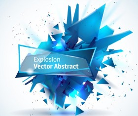 Blue explosion backgrounds with glass banner vector 01