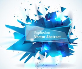 Blue explosion backgrounds with glass banner vector 02
