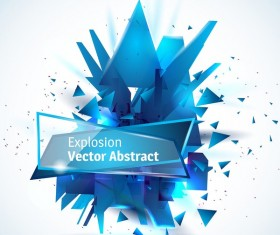 Blue explosion backgrounds with glass banner vector 03