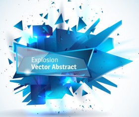 Blue explosion backgrounds with glass banner vector 04