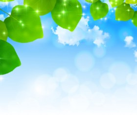 Blue sky background with green leaves vector