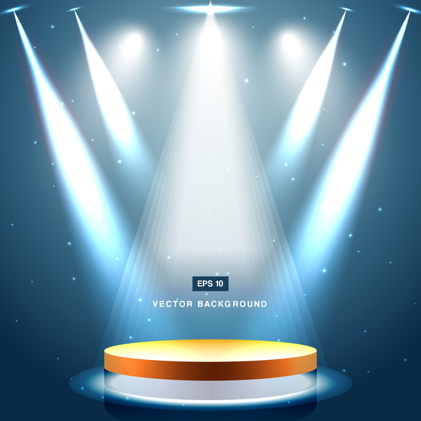 Blue spotlight with stage background vector 01 - Vector ...