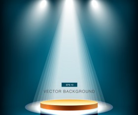 Blue spotlight with stage background vector 02