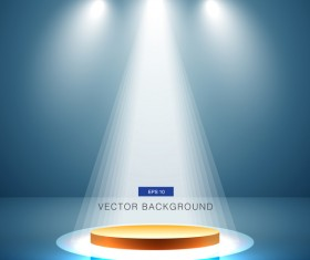 Blue spotlight with stage background vector 03