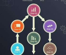 Blue timeline infographic template vectors 01