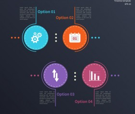 Blue timeline infographic template vectors 02