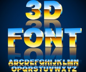 Blue with golden gradient alphabet with number vector material