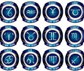 Blue zodiac icons vector set