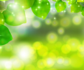 Bokeh background with green leaves vector material 01