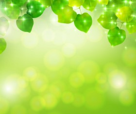 Bokeh background with green leaves vector material 02