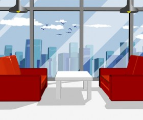 Business office with red sofa vector