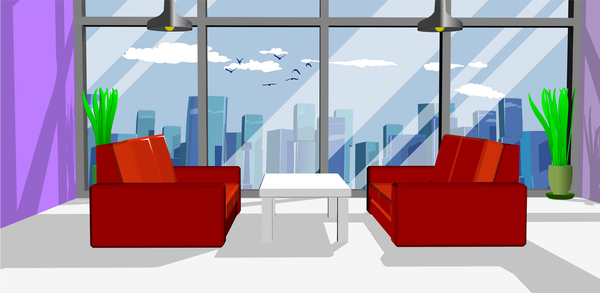 Business Office With Red Sofa Vector Free Download