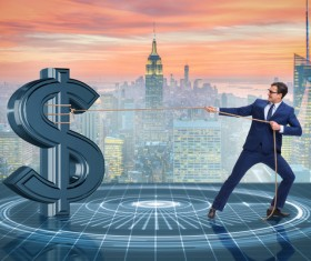 Businessmen save the dollar Stock Photo 01