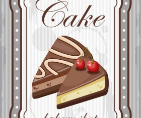 Cake with bakery shop retor poster vector 04