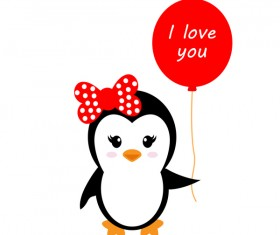 Cartoon cute penguin with love vector illustration 01