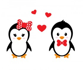 Cartoon cute penguin with love vector illustration 02