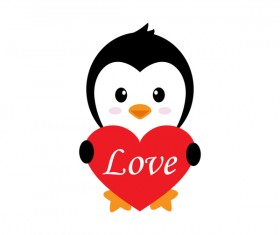Cartoon cute penguin with love vector illustration 03