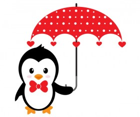 Cartoon cute penguin with love vector illustration 04