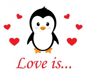 Cartoon cute penguin with love vector illustration 05