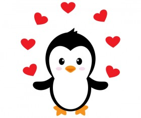 Cartoon cute penguin with love vector illustration 06