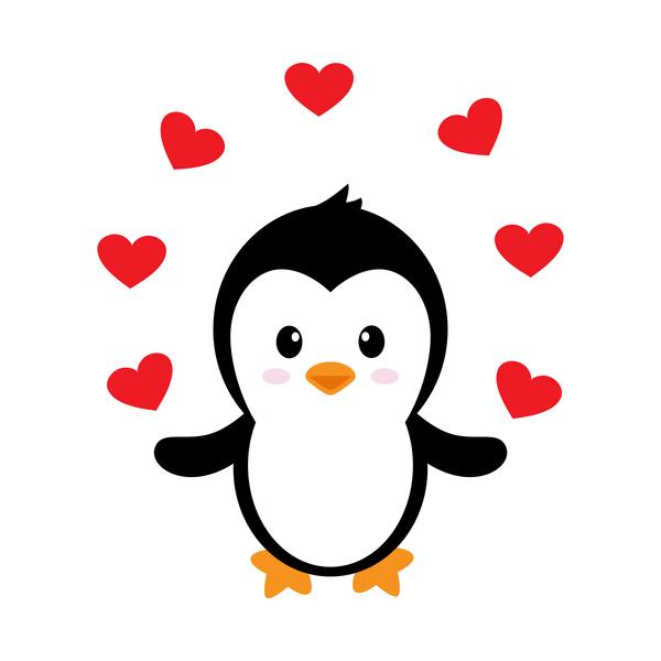cute penguin cartoon love