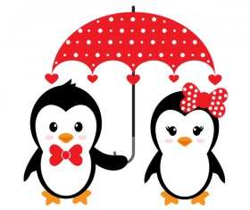 Cartoon cute penguin with love vector illustration 07
