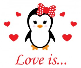 Cartoon cute penguin with love vector illustration 08