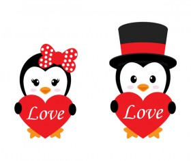 Cartoon cute penguin with love vector illustration 09