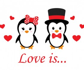 Cartoon cute penguin with love vector illustration 10