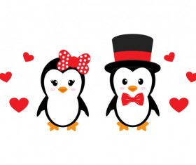 Cartoon cute penguin with love vector illustration 11