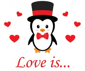 Cartoon cute penguin with love vector illustration 12